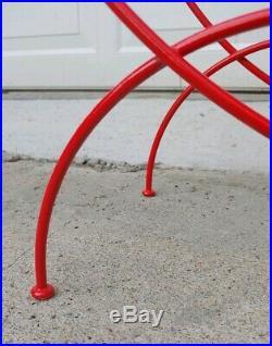 Vtg ATOMIC Fire Engine CHERRY RED Mid Century Modern Round Wire Hoop Plant Stand