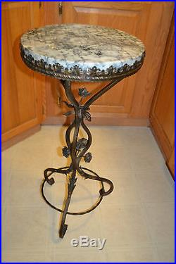 Vtg Antique Wrought Cast Iron Lamp Plant Table Stand Marble Stem Rose Floral