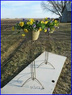Vtg Atomic Plant Stand Steel Hairpin Leg Planter MCM 39 Bullet Wire Machine Age