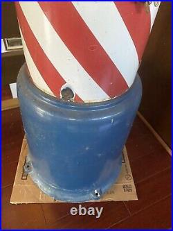Vtg Beardsley Koch sidewalk porcelain metal barber pole Koken stand light Works
