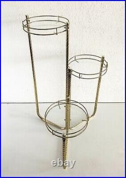 Vtg Brass Glass 3 Tier Plant Stand Table Metal Gold Boho MCM Hollywood Regency