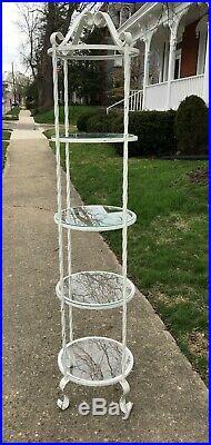 Vtg Gothic Twist Wrought Iron 6' 4 Tier Shelf Garden Plant Stand Wedding Prop