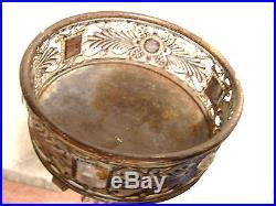 Vtg Hand Made Glass Jeweled Metal Art Deco Plant Holder Stand Trinket Dish Bowl