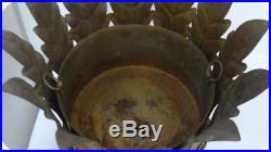 Vtg Italy Gold Gilt TOLE Metal PLANTER Plant Stand Hollywood Regency Pot Holder