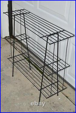 Vtg MCM Metal Wire Record Player Stand Holder Rack Cart Stand Plant Table