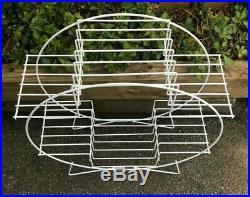 Vtg MID Century Modern Atomic Plant Stand Wire Metal 4 Tier Round Hairpin Leg