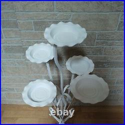 Vtg. Mid-century Modern Wrought Iron Flower 5 Plant Stand Holder 32 1/2 NICE