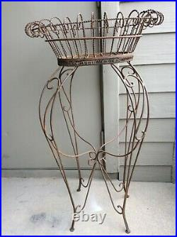 Vtg Victorian Style Wrought Iron Metal Plant Stand 41 Tall LOCAL PICK UP ONLY