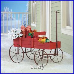 Wagon Decorative Planter Cart Wood Metal Flower Pottery Vintage Garden Backyard