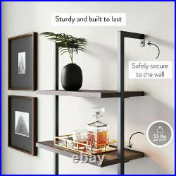 Wall Mounted Industrial 4-Tier Bookshelf with2 Wood Drawers Ladder Shelf Bookcase