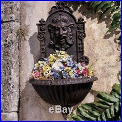 Wall Plant Stand Greenman Statue Iron Sculptural Garden Outdoor Decor Victorian