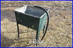 Wheeling Galvanized Single Wash Tub Sink Cooler Flower Pot Plant Stand Bucket ck