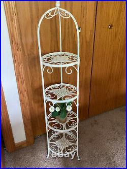 White Vintage Cast Iron Metal White Plant Stand 4 Tier Shelf Round Lrg 45