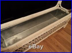 Wicker Rectangle Table Plant Stand withMetal Tin Liner Insert HTF planter/holder
