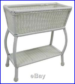 Wicker Resin/ Steel 2-Tier Outdoor Plant Stand in White ID 3185251