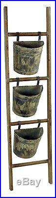 Wood Ladder with Metal Hanging Planter Buckets Farmhouse Home Garden NEW V1616