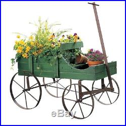 Wood Wagon Decorative Wheel Planter Garden Flower Plant Pot Outdoor Decor, Green