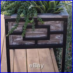 Wood and Metal Raised Garden Bed Elevated Planter Flower Vegetable Herb Patio