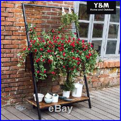 Wooden Raised Garden Bed Elevated Planter Grow Flower Vegetables Metal Trellis