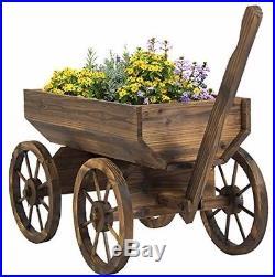 Wooden Wagon Cart Garden Big Wheels Rustic Planter Antique Yard Flowers Outdoor