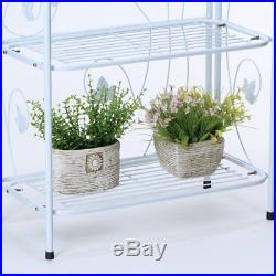 Worth Plant Stand 4-Tier Foldable Metal Maple Plant Rack Indoor Outdoor Patio