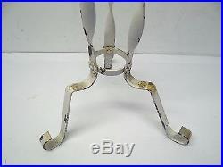 Wrought Iron Metal Painted White Shabby Chic Swirl Planter Stand Holder