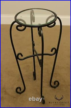 Wrought Iron Pair Round Glass Top Plant Stands