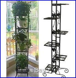 Wrought Iron Plant Stand Outdoor Garden Porch Decor Flower Box Pots Shelf Holder