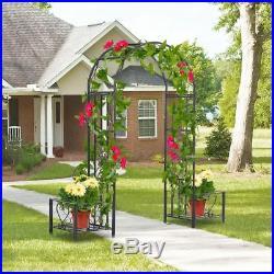 Wrought Metal Garden Arch Arbor Trellis Plant Stands Outdoor Yard Wedding Decor