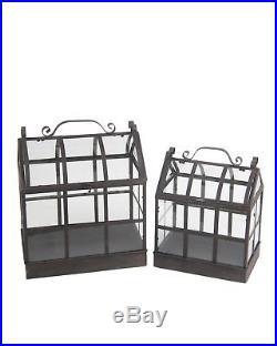 Zeckos 2 Piece Metal and Iron Greenhouse Decorative Terrarium Set