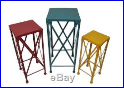 Zeckos Blue Red and Yellow Decorative Metal Nesting Plant Stands Set of 3